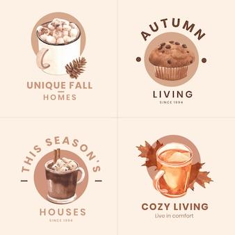 Logo design con concetto accogliente di casa autunnale, stile acquerello