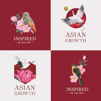 Logo design with bird and chinese flower concept,watercolor style