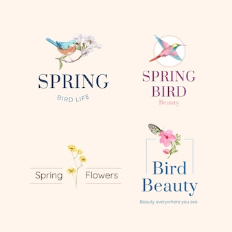 Logo design with birds and spring concept