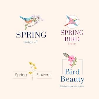 Progettazione di logo con uccelli e concetto di primavera