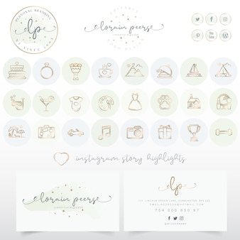 Logo design with business card and icons set