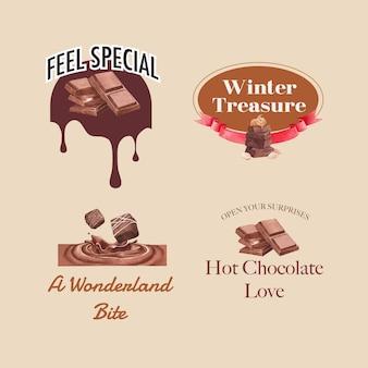 Дизайн логотипа с шоколадной зимней концепцией для брендинга и маркетинга акварель векторные иллюстрации