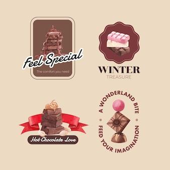 水彩ベクトルイラストのブランディングとマーケティングのためのチョコレート冬のコンセプトのロゴデザイン