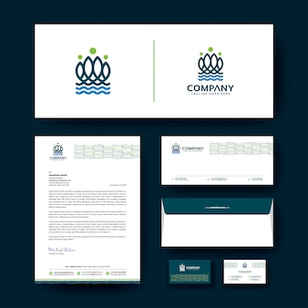 Logo design with corporate business stationery template.