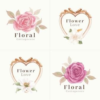 コテージコアの花のコンセプト、水彩スタイルのロゴデザイン