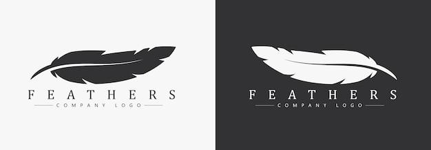 작가 또는 출판사를 위해 깃털과 회사 이름이있는 로고 디자인. 검은 색과 흰색 배경에 템플릿입니다.