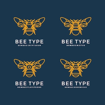 Logo design with four types of bees