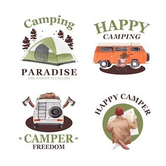 해피 캠프 컨셉의 로고 디자인