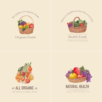 건강 식품 개념, 수채화 스타일 로고 디자인