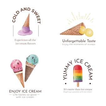 아이스크림 풍미 개념, 수채화 스타일 로고 디자인