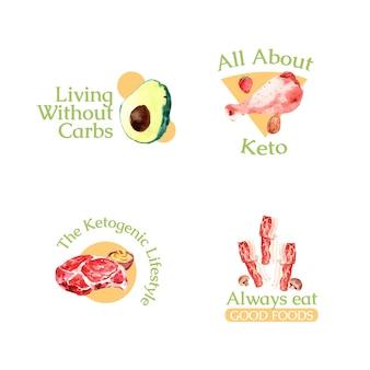 水彩イラストのブランディングとマーケティングのためのケトジェニックダイエットコンセプトのロゴデザイン。