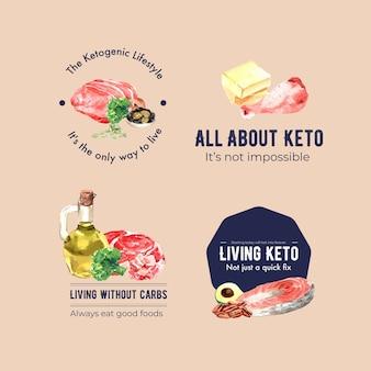 Дизайн логотипа с концепцией кетогенной диеты для брендинга и маркетинговой акварельной иллюстрации.