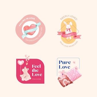 Logo design con amarti concetto per il branding e l'illustrazione dell'acquerello di affari
