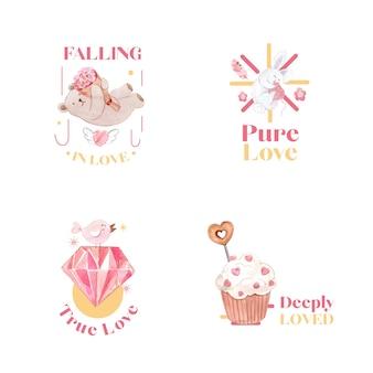 ブランディングとビジネス水彩イラストのコンセプトを愛するロゴデザイン