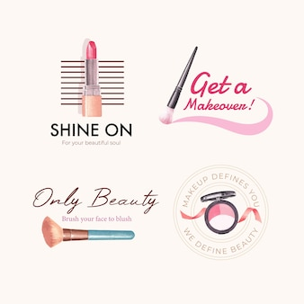 Logo design with makeup concept for branding and marketing watercolor.