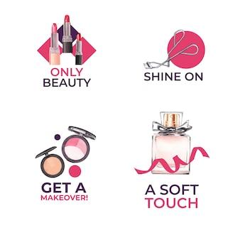 水彩画のブランディングとマーケティングのためのメイクアップコンセプトのロゴデザイン。