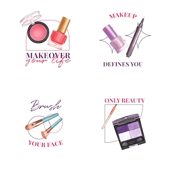 Дизайн логотипа с концепцией макияжа для брендинга и маркетинговой акварели.