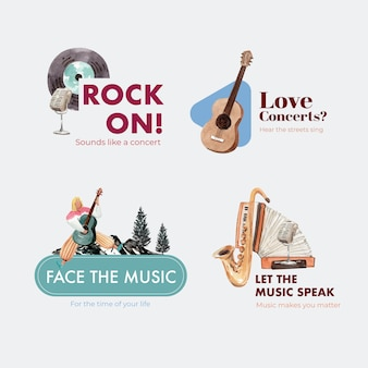 Logo design con concept design festival musicale per branding e marketing illustrazione vettoriale acquerello