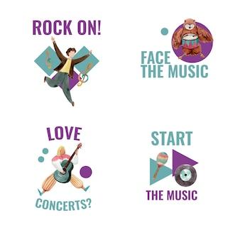 브랜딩 및 마케팅 수채화 벡터 일러스트 레이 션을위한 음악 축제 컨셉 디자인 로고 디자인