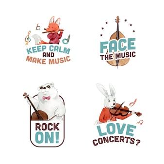 ブランディングとマーケティングのための音楽祭のコンセプトデザインとロゴデザイン水彩ベクトルイラスト