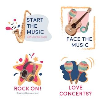 Дизайн логотипа с концептуальным дизайном музыкального фестиваля для брендинга и маркетинга акварель векторные иллюстрации