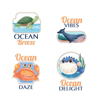 Logo design with ocean delighted conceptwatercolor style