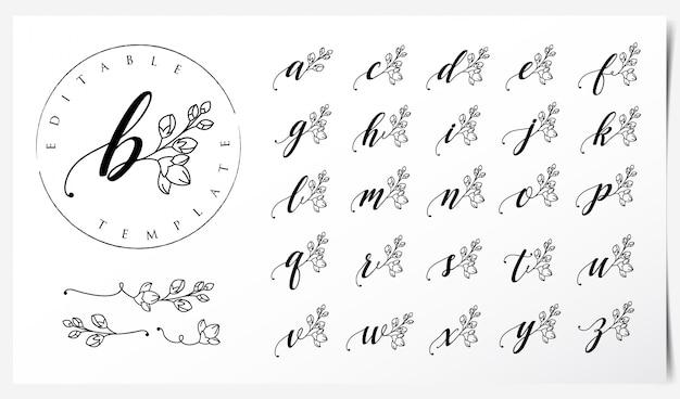난초 꽃 요소와 로고 디자인