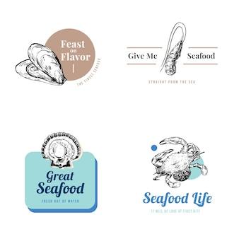브랜딩 및 마케팅 일러스트레이션을위한 해산물 개념 로고 디자인