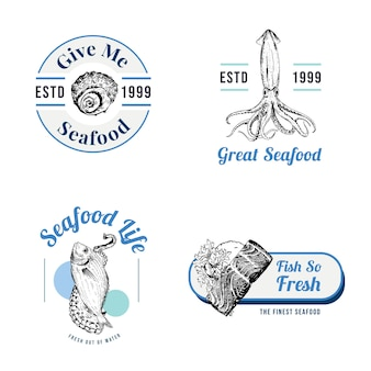 ブランディングとマーケティングのイラストのためのシーフードコンセプトのロゴデザイン