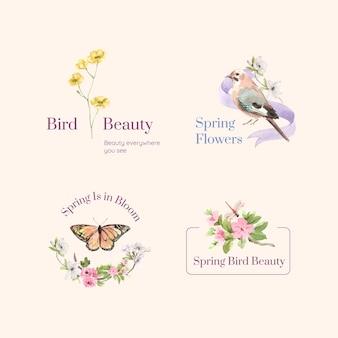 Progettazione di logo con il concetto di primavera e uccello per il branding e l'illustrazione dell'acquerello di marketing