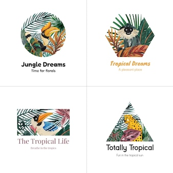 Logo design with tropical contemporary concept for branding and marketing watercolor illustration