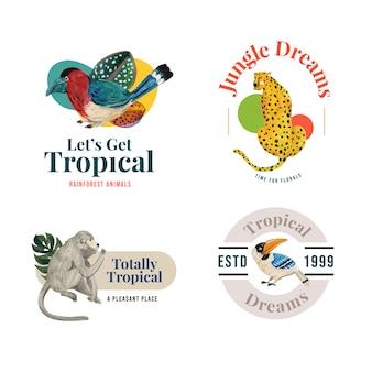 水彩イラストのブランディングとマーケティングのための熱帯の現代的なコンセプトのロゴデザイン