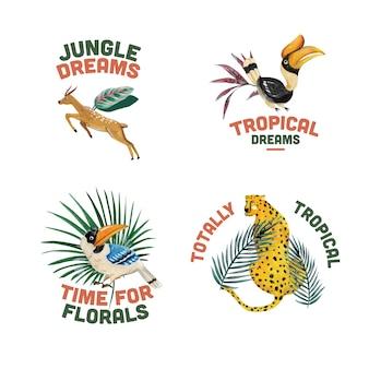 Дизайн логотипа с тропической современной концепцией для брендинга и маркетинга акварельной иллюстрацией