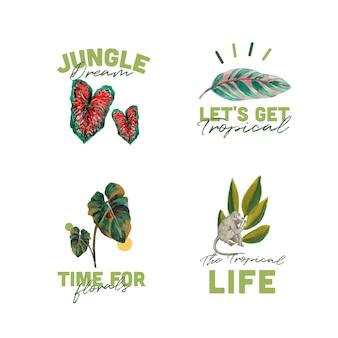 브랜딩 및 마케팅 수채화 그림을위한 열대 현대 개념 로고 디자인