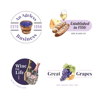 Logo design with wine farm concept for branding and marketing watercolor illustration.