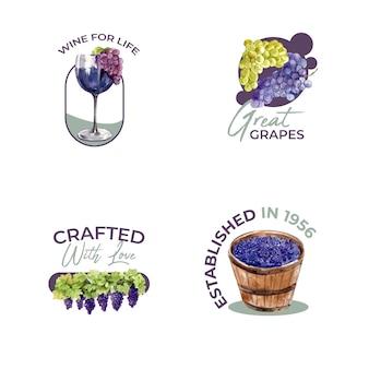 Дизайн логотипа с концепцией винной фермы для брендинга и маркетинга акварельной иллюстрации.