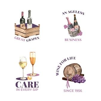 水彩イラストのブランディングとマーケティングのためのワインファームのコンセプトを持つロゴデザイン。