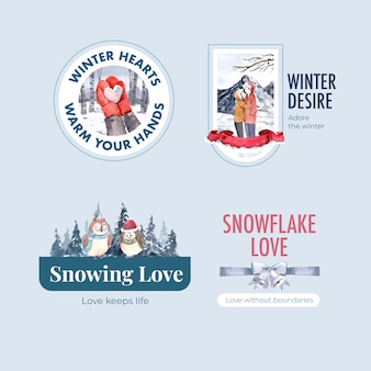 Logo design with winter love concept for branding,marketing and icon watercolor vector illustration