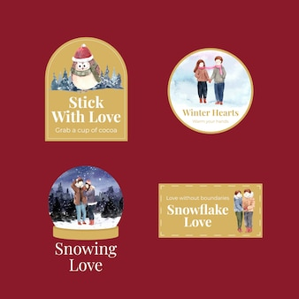 Progettazione di logo con il concetto di amore di inverno per l'illustrazione di vettore dell'acquerello di branding, marketing e icona