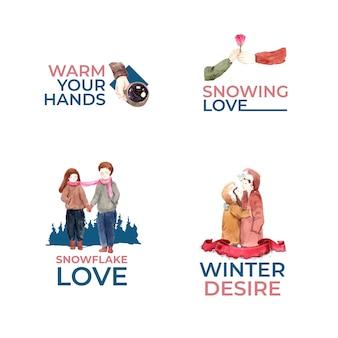 ブランディング、マーケティング、アイコンの水彩ベクトル図の冬の愛の概念とロゴのデザイン