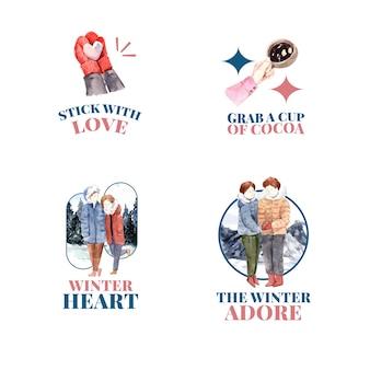브랜딩, 마케팅 및 아이콘 수채화 벡터 일러스트 레이 션에 대 한 겨울 사랑 개념 로고 디자인