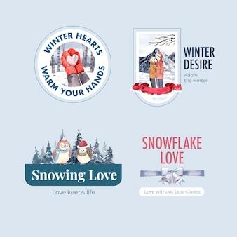 Дизайн логотипа с концепцией зимней любви для брендинга, маркетинга и значка акварель векторные иллюстрации