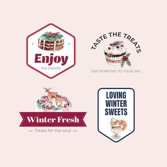水彩風の冬のお菓子のロゴデザイン