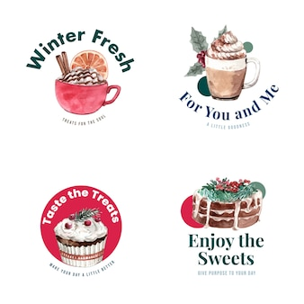 Logo design with winter sweets in watercolor style