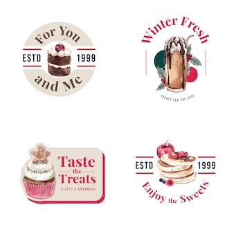 Progettazione di logo con dolci invernali in stile acquerello