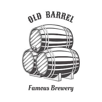 Дизайн логотипа с деревянными пивными бочками для паба.