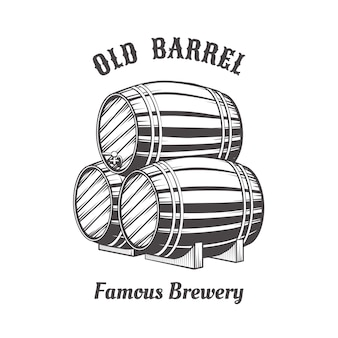 Logo design with wooden beer barrels for pab.