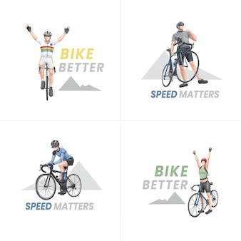Logo design with world bicycle day concept,watercolor style