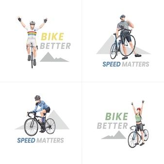 Дизайн логотипа с концепцией всемирного дня велосипеда, акварель в стиле