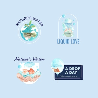 Logo design with world water day concept watercolor illustration